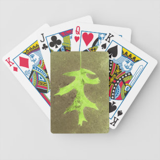 Fun Neon Lime Green Leaf Grunge Background Bicycle Playing Cards