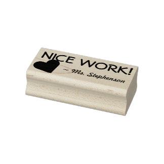 "Fun ""NICE WORK!"" + Teacher's Name Rubber Stamp"