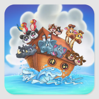 Fun Noah's Ark cartoon stickers for kids