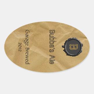 Fun Paper Bag Look Beer Label Oval Sticker