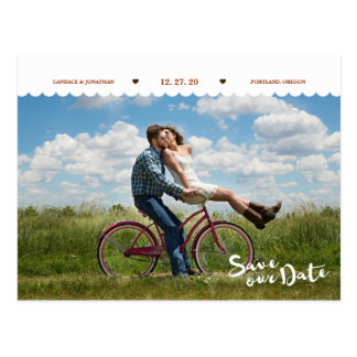 Fun Polka Dots Brush Script Photo Save the Date Postcard