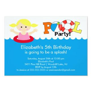 Fun Pool Party Birthday Invitation Blonde Girl