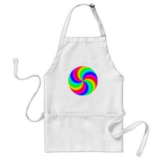 Fun psychedelic bright rainbow swirl pinwheel standard apron