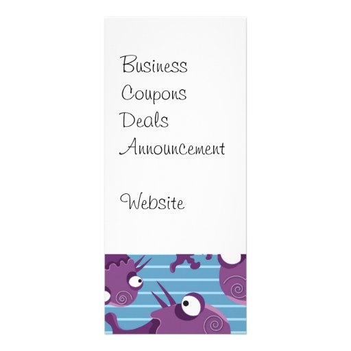Fun Purple Monsters Creatures Blue Gifts for Kids Personalized Rack Card