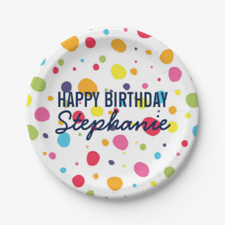 Fun Rainbow Dot Personalized Birthday Plates 7 Inch Paper Plate
