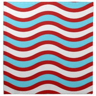 Fun Red Teal Turquoise White Wavy Lines Stripes Napkin