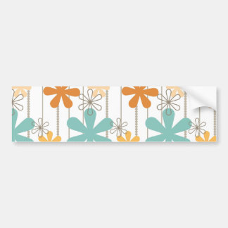 Fun Retro Floral Pattern Orange Blue Wall Flowers Bumper Sticker