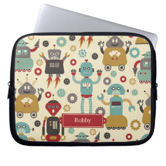 Fun Retro Robots Illustrated Pattern (Cream) Laptop Sleeve