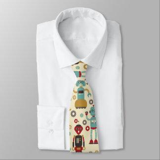 Fun Retro Robots Illustrated Pattern (Cream) Tie