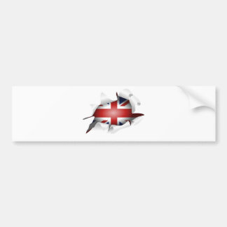 Fun Ripped Hole With Union jack Flag Bumper Sticker