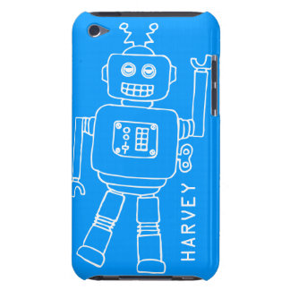 Fun robot named blue & white boys ipod touch case