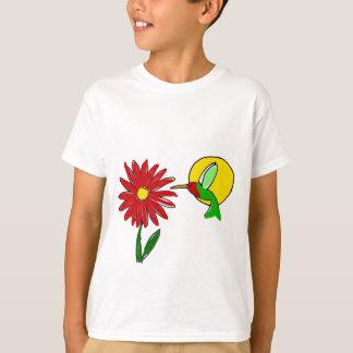 Fun Ruby Throated Hummingbird and Red Zinnia Flowe T-Shirt