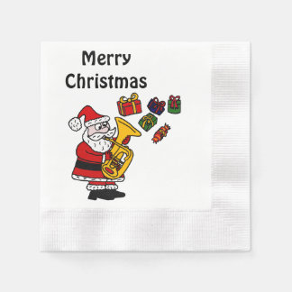 Fun Santa Claus Playing Tuba Christmas Art Paper Napkins