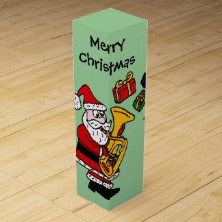 Fun Santa Claus Playing Tuba Christmas Art Wine Gift Box