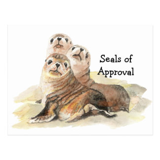 """Fun """"Seals of Approval"""" with Cute Watercolor Seals Postcard"""