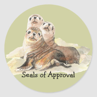 "Fun ""Seals of Approval"" with Cute Watercolor Seals Round Sticker"
