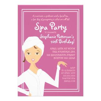 Fun Spa Girl Birthday Spa Party Invitation   Berry