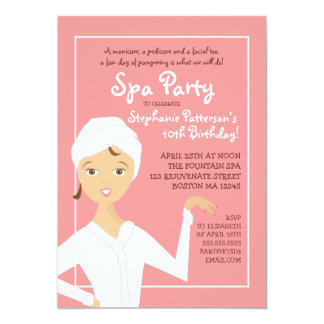 Fun Spa Girl Birthday Spa Party Invitation | Pink