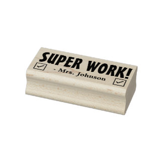 "Fun ""SUPER WORK!"" Acknowledgement Rubber Stamp"