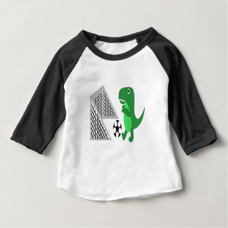 Fun T-rex Playing Soccer Cartoon Baby T-Shirt