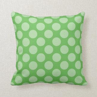 Fun Trendy Green Polka Dots Pattern on Green Cushion