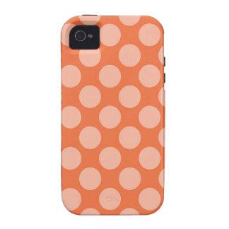 Fun Trendy Orange Polka Dots Pattern on Orange iPhone 4 Covers