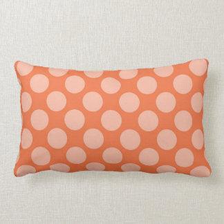 Fun Trendy Orange Polka Dots Pattern on Orange Lumbar Pillow