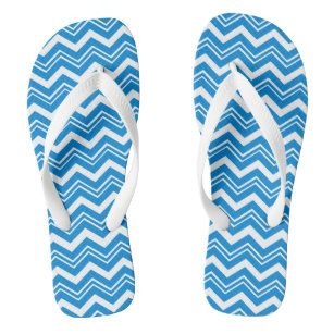 Fun Turquoise Blue Zigzag Striped Jandals