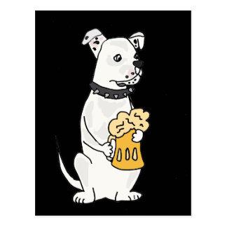 Fun White American Bulldog with Beer Postcard