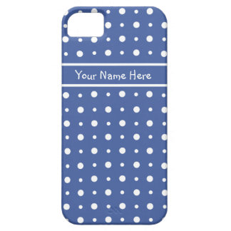 Fun White Polka Dots on Deep Blue Background Case For The iPhone 5