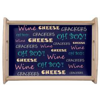 Fun Wine Cheese Crackers Service Tray