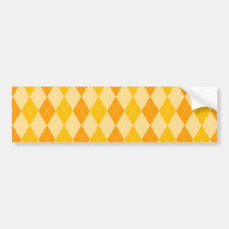 Fun Yellow and Orange Argyle Diamond Tile Pattern Bumper Sticker