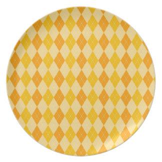 Fun Yellow and Orange Argyle Diamond Tile Pattern Dinner Plates