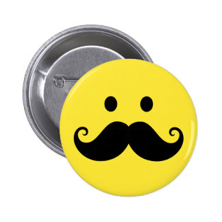 Fun yellow smiley face with handlebar mustache 6 cm round badge