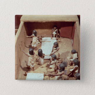 Funerary model of a textile workshop 15 cm square badge