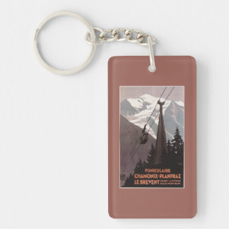 Funiculaire Le Brevent Cable Car Poster Double-Sided Rectangular Acrylic Key Ring