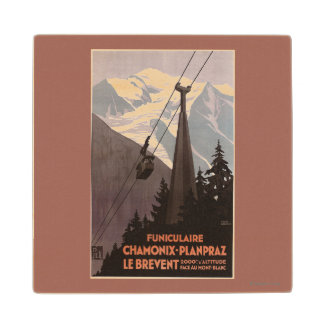 Funiculaire Le Brevent Cable Car Poster Maple Wood Coaster