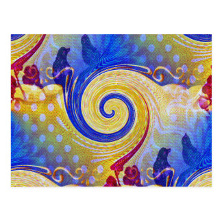 Funky Abstract Lollipop Swirl Pattern Roses Birds Postcard