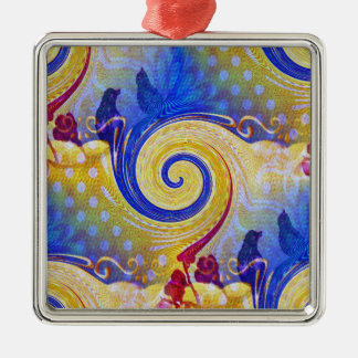 Funky Abstract Lollipop Swirl Pattern Roses Birds Silver-Colored Square Decoration
