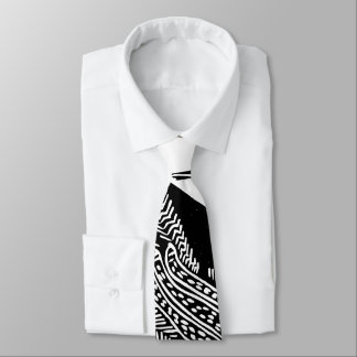 Funky Abstract Pattern Black and White Tie