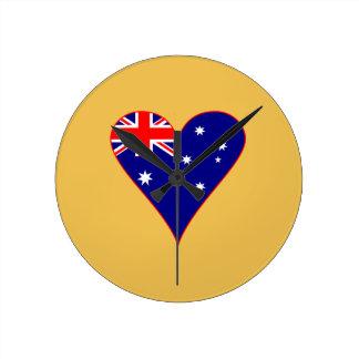 Funky Australia Heart Flag w/ Red Border Round Clock