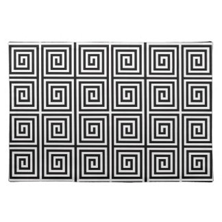 Funky Black and White Retro Abstract Pattern Placemat