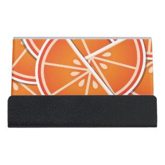 Funky blood orange wedges desk business card holder