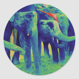 Funky Blue and Green Elephants in Chitwan, Nepal Round Sticker