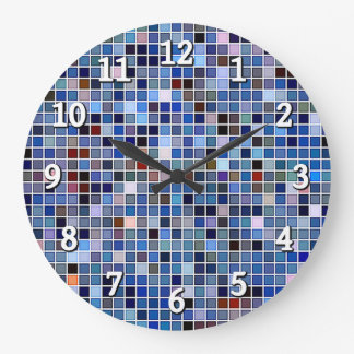 Funky Blue 'Bathroom Tiles' Pattern Large Clock