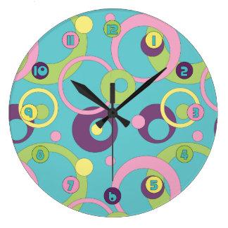 Funky Blue Circles Clock
