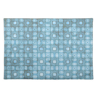 Funky Blue Retro Mosaic Pattern Placemat
