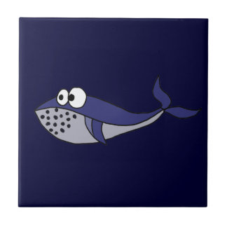 Funky Blue Whale Cartoon Design Tile