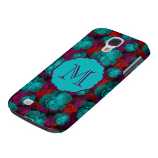 Funky Bold Roses Pattern Monogram Galaxy S4 Case