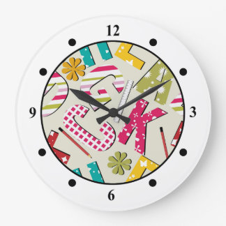 Funky Bright Letters with Patterns Large Clock